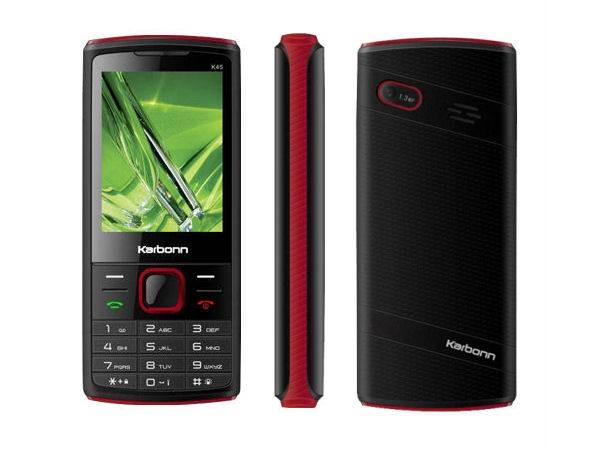 Karbonn K45 Mighty Front, Side and Back View
