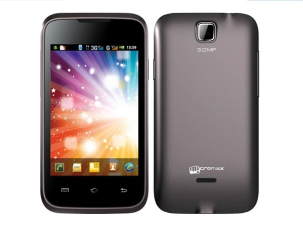Micromax A54 Smarty 3.5 Front & Back View