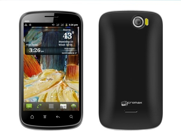 Micromax A65 Smarty 4.3 Front & Back View