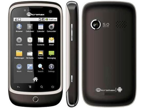 Micromax A70 Front, Side and Back View