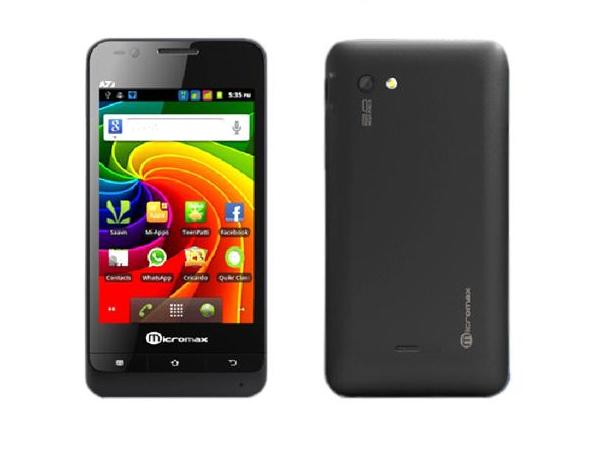 Micromax A73 Front, Side and Back View