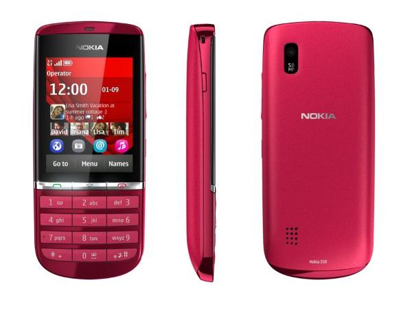 Nokia Asha 300 Red Front, Side and Back View