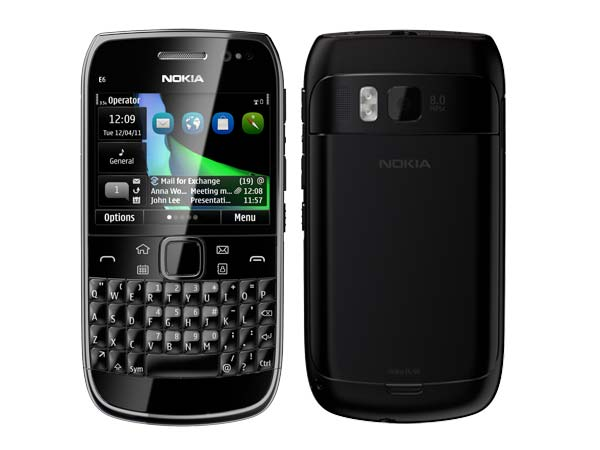 Nokia E6 Black Front and Back View