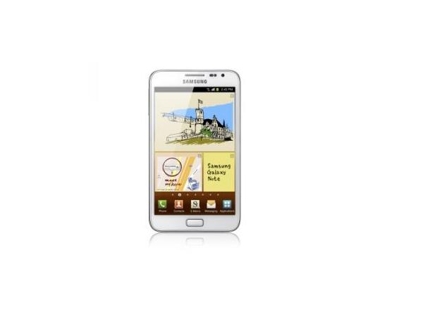 Samsung Galaxy Note N7000 White Front View