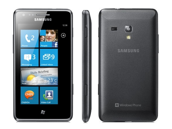 Samsung Omnia M S7530 Front, Side and Back Views